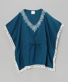 Love this Slate Blue Pom-Pom Kaftan - Toddler & Girls by Azul Swimwear on #zulily! #zulilyfinds