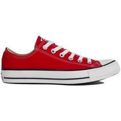 Converse Chuck Taylor All Star Classic Low Top Oxford Sneakers in Red ($55) ❤ liked on Polyvore featuring shoes, sneakers, converse, red, red shoes, oxford lace up shoes, lace up oxfords, lace up shoes and round cap
