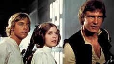 Luke Skywalker (Mark Hamill), Princess Leia (Carrie Fisher) and Han Solo (Harrison Ford) attempt to escape the clutches of Darth Vader aboard the Death Star in a scene from Star Wars: Episode IV A New Hope. Star Wars Trivia, Star Wars Film, Star Wars Episódio Iv, Star Wars Watch, Mark Hamill, Harrison Ford, Carrie Fisher, Jake Lloyd, Princesa Leia