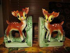 "Vintage Mint Deer Fawn Bambi Ceramic 6"" Bookends Pair Japan   eBay"