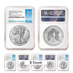 PRESALE - Lot of 5 - 2016-W 1 oz Burnished Silver American Eagle NGC MS 70 First