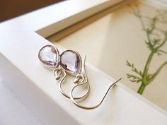 Pink Amethyst Earrings  Pink Amethyst and Sterling by PoppyandGwyn