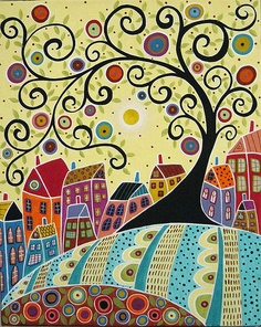 Swirl Tree and Houses Painting by Karla G by karlagerard, via Flickr