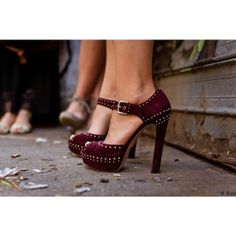 Burgundy studded heels! Great for the fall and winter! #dressesonly #inspiration #heel www.louboutinboots.at.nr   Fashion high heels, fashion girls shoes and men shoes ,just here with $129 best price
