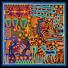 "The Flood of the Third World  Huichol yarn painting by  Jose Benitez Sanchez (1938-2009)  Nayarit, Mexico, c. 2006  Yarn pressed into beeswax on plywood  (24"" x 24"")"