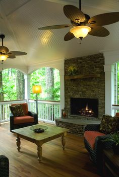 kitchen renovation, dining room ideas, home improvement, kitchen design, The Porch addition allows this family to enjoy the views of the creek originally only enjoyed from the small Kitchen window Porch Fireplace, Fireplace Facing, Fake Fireplace, Outdoor Rooms, Outdoor Living, Screened In Porch, Front Porch, Outside Living, Decks And Porches