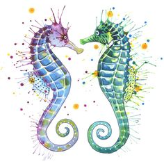 Colorful Seahorse Painting Guardians of the sea by ephemeralgaze Seahorse Painting, Seahorse Tattoo, Seahorse Art, Seahorses, Seahorse Drawing, Tattoo Caballo, Colorful Seahorse, Sea Art, Fish Art
