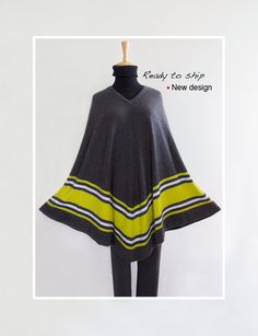 cashmere poncho / Extra long poncho/ Cashmere cape / Stripe poncho / V-neck poncho / Poncho / Dark gray by SoftyWooly on Etsy Cashmere Poncho, Custom Made, Cover Up, Tunic Tops, One Piece, V Neck, Pure Products, Gray, How To Wear