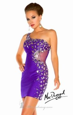 Asymmetrical Jeweled Dress by Mac Duggal Twelve 85243T