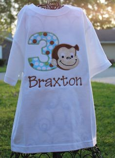 Appliqued and Personalized Curious George Birthday by sandrahuss, $20.00