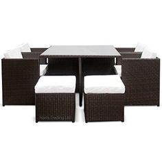 Harts Luxury Rattan Cube set - 9 Piece Dining Set Wicker patio conservatory furniture inc Cover(Brown Rattan)