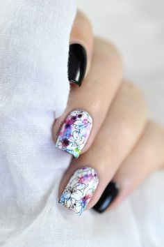 Marine Loves Polish: Flowers & watercolor for Edwige! - water decals nail art