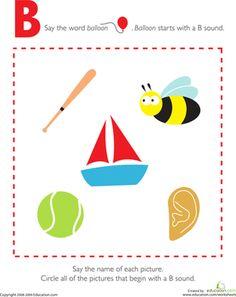 Preschool The Alphabet Worksheets: Letter Sounds: B