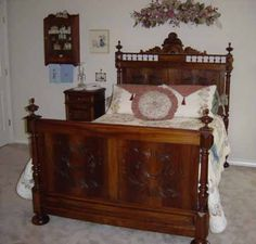 French antique bed and nightstand 1880s