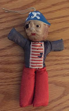 Antique Vintage Pirate Doll Hanging Ornament Sawdust Stuffed Cloth Japan | eBay
