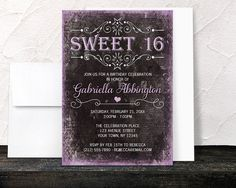 Thank you, Lisa in Maine, for your purchase of these Black Grunge Purple Sweet 16 Invitations. (1/15/2017)
