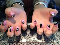 pink and striped nails
