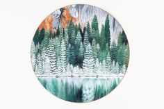 Forest Print, Forest Art, Forest Painting, Landscape Painting, Tree Art, Round painting, Forest Artwork, Boho, Circular forest Painting