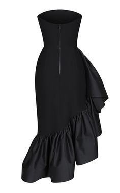 Cut from a crisp crepe, Rasario's dress is developed in a form fitting silhouette. This strapless style has a fitted waistline that contours into an asymmetrical ruffled satin. We recommend styling yours with satin slingbacks for your next event. Teen Fashion Outfits, Fashion Dresses, Ladies Fashion, Boho Dress, Dress Skirt, Evening Dresses, Summer Dresses, Satin Dresses, Dresses Dresses