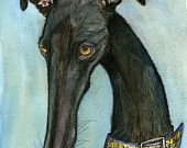 Items similar to Romance with a sofa - GREETING CARD Greyhound Art Print on Etsy