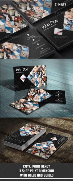 Creative Business Card 2 You can put 21 photos.2 Full PSD files.Easy EditableWell Organized LayerCMYK, Print Ready3.5x2¡± Print Dim