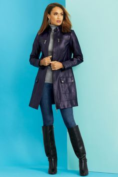 Genuine Leather Zip Front 3/4 Coat: Unique & Bold Women's Clothing from #metrostyle $139.99 - $149.99$29.99 - $34.99$39.99 - $44.99$69.99