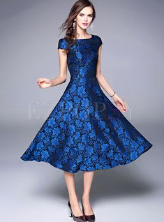 Shop for high quality Vintage Wrinkle Jacquard Short Sleeve Skater Dress online at cheap prices and discover fashion at Ezpopsy.com
