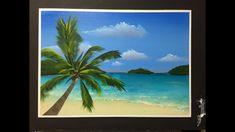 How to paint an Hawaiian beach palm Painting Videos, Painting Lessons, Painting Tips, Painting Grass, Acrilic Paintings, Painting Workshop, Paint And Sip, Sketch Inspiration, Surf Art