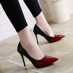 d4af0ae8160 Spring Autumn High Heels Shoes Woman Elegant Thin High Heels Pointed Toe  Gradient Color Women Pumps Party Plus Size 3318
