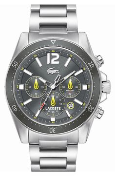 Lacoste 'Seattle' Chronograph Aluminum Bezel Bracelet Watch