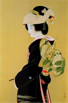 Uemura Shoen ) Technically not Ukiyo-e, but damned if I'm gonna spend that 20 seconds making another board. Art Geisha, Geisha Kunst, Geisha Japan, Japanese Prints, Japanese Kimono, Japan Painting, Art Asiatique, Art Japonais, Japan Art