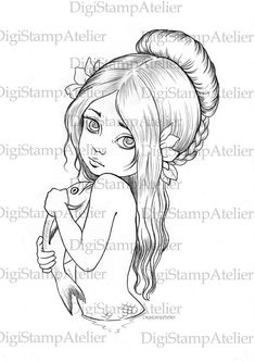 Mermaid and Fish. INSTANT DOWNLOAD Digital by digistampatelier