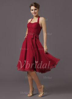 Bridesmaid Dresses - $97.03 - A-Line/Princess Halter Knee-Length Chiffon Bridesmaid Dress With Ruffle Bow(s) (00705004924)