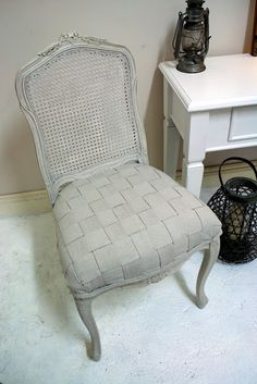 French chair with woven drop sheet as upholstery. Really looks much more than a drop sheet!