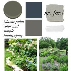 """hidden potential front"" by katiewaddell on Polyvore | exterior paint scheme ideas: navy as door color, light grey body, deep green-grey trim"