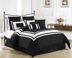 Black Bedding Sets King - Home Furniture Design Plum Bedding, Purple Bedding Sets, Grey Comforter Sets, Queen Bedding Sets, Black Bedding, Bedroom Black, Purple Comforter, Master Bedroom, White Bedrooms