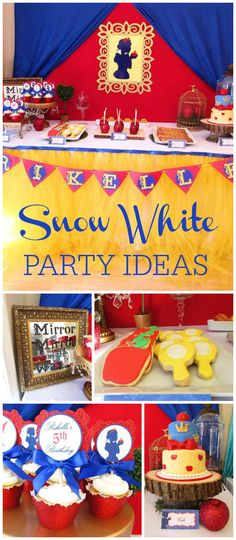 A Snow White girl birthday party with candy apples and a beautifully decorated cake and cookies! See more party planning ideas at CatchMyParty.com!