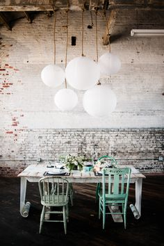 "Mad loves these colors - ""white and brue a little pink and green accent the shades the white wash vintagey tables"""