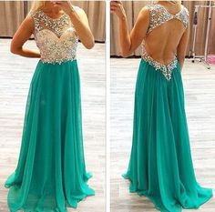 See Through Open Back Green Chiffon Beaded Long Prom Dress,A Line Backless Sexy Evening Dresses Prom,Formal Women Dresses