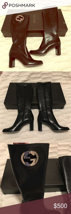 NEW Gucci Black Boots Beautiful Black Gucci boots. Never worn. Comes with boot box. Size 8. Silver Gucci Emblem on right boot. 100% Authentic Gucci Shoes Heeled Boots