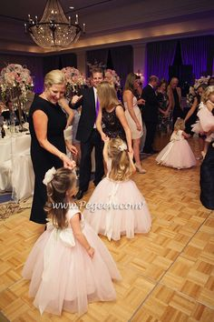 Peony Pink with Crystal Pink Tulle, Peony Pink with Crystal Pink Tulle Silk Flower girl dresses by Pegeen for large wedding party ~ Located 1 mile from Disney World, Selling online and shipping world wide. Call us for design help! 407-928-2377