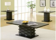 Coaster Furniture - 3 Piece Occasional Table Sets Contemporary 3 Piece Coffee Table and End Table Set - 701514 Black Coffee Table Sets, 3 Piece Coffee Table Set, Coffee And End Tables, End Table Sets, Coffee Table Design, Occasional Tables, Side Tables, Coaster Furniture, Table Furniture