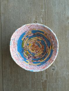 Catchall Basket  - Map Art Valet - Map Basket - Fiber Art Bowl - Geocaching Gift by WaveSong on Etsy