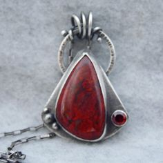 Red Jasper and Garnet Silver Necklace Sterling Silver by gbjewel, $125.00