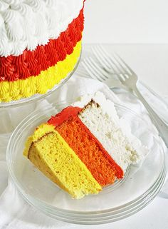 Candy Corn inspired cake #Halloween #candycorn #cake #party