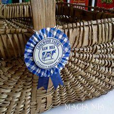 3 Gingham Dairy Cap Prize Ribbon Rosettes Medallion Blue White, County Fair, Milk Bottle Caps