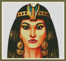 Cross Stitch Pattern Cleopatra Queen of Egypt embroidered picture of famous people This cross-stitch picture will decorate any room