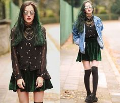 Sheer Cross Printed Blouse, Diy Made By Me Green Velvet Skirt, Vintage Denim Jacket, Suede Creepers, Spiky Choker