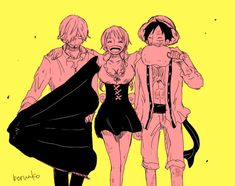 One Piece, Strawhat Pirates, Sanji, Nami, Luffy