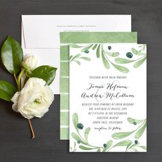 Painted Olives Wedding Invitations by Emily Crawford | Elli